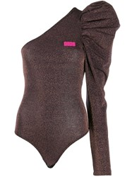Gcds Asymmetric Bodysuit Brown