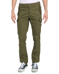 Schott Nyc Khaki Poplin Fitted Cargo Trousers