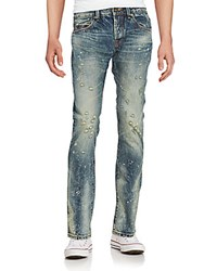 Cult Of Individuality Greaser Distressed Straight Leg Jeans Blue