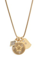 Treasure And Bond Women's Triple Charm Initial Pendant Necklace R Gold
