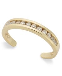 B. Brilliant 18K Gold Over Sterling Silver Toe Ring Cubic Zirconia Channel Set Toe Ring 1 5 Ct. T.W. None