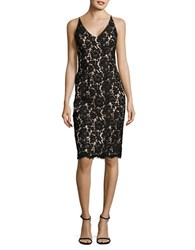 Vince Camuto Floral Lace Sheath Dress With Scarf Black