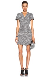 Proenza Schouler Boucle Basket Tweed A Line Dress In Black White Checkered And Plaid
