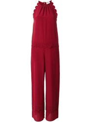 Red Valentino Scalloped Detail Jumpsuit Women Silk 42 Red