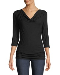Majestic Viscelas 3 4 Sleeve Draped Top Black