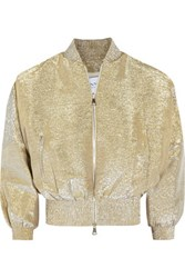 Vionnet Metallic Silk Blend Lame Jacket Gold