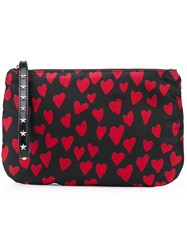Red Valentino Heart Print Zipped Clutch Women Polyester Polyurethane Metal Other One Size Black