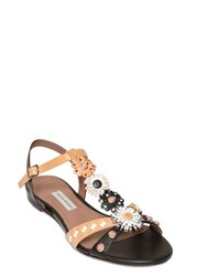 Tabitha Simmons 10Mm Flower Appliques Leather Sandals