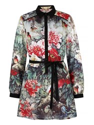 Yumi Bird And Floral Print Shirt Dress Multi Coloured