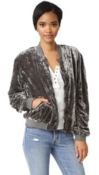 Free People Ruched Velvet Bomber Navy
