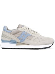 Saucony Lateral Patches Sneakers Women Calf Leather Leather Polyester Rubber 7.5 Grey