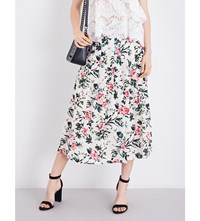 The Kooples Floral High Rise Silk Crepe Skirt Ecr01