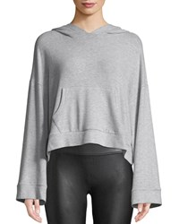 Cupcakes And Cashmere Canby Cropped Long Sleeve Hoodie Light Gray