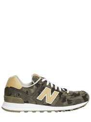 New Balance 574 Camouflage Canvas And Leather Sneakers