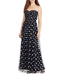 Lauren Ralph Lauren Strapless Polka Dot Print Gown Lighthouse Navy Colonial Cream