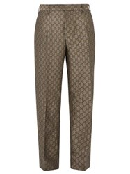 Gucci Gg Pleated Cotton And Wool Blend Trousers Beige