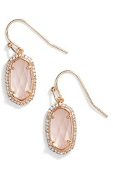 Kendra Scott Women's Lee Pave Drop Earrings Peach Clear Glass Rose Gold
