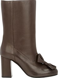 Marni Bow Embellished Mid Calf Boots Brown