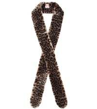 Shrimps Catrina Printed Faux Fur Scarf Brown
