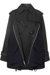 Sacai Cotton Gabardine And Wool Felt Trench Coat Black