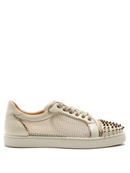 0441479de125 Christian Louboutin Ac Vieira Spike Embellished Leather Trainers White Gold