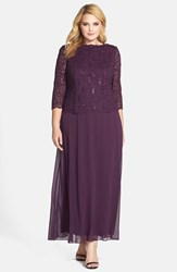 Plus Size Women's Alex Evenings Embellished Lace And Chiffon Gown Deep Plum
