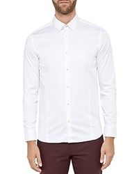 Ted Baker Algravy Satin Stretch Regular Fit Button Down Shirt White