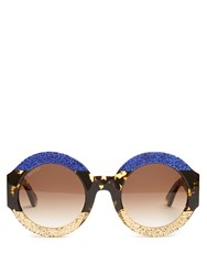Gucci Tri Colour Round Frame Acetate Sunglasses Blue Multi