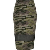 River Island Womens Khaki Camo Mesh Panel Tube Skirt