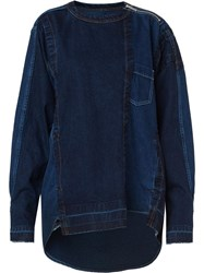 Sacai Frayed Edge Denim Sweatshirt Blue