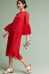 Anthropologie Chiffon Bell Sleeve Dress Red