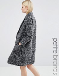New Look Petite Dark Leopard Print Over Coat Grey