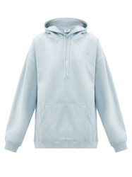 Vetements Goat Print Cotton Jersey Hooded Sweatshirt Light Blue