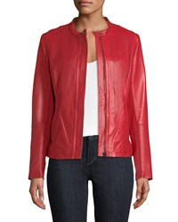 Neiman Marcus Perforated Zip Front Leather Jacket Red
