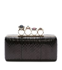 Alexander Mcqueen Jewel Ring Box Clutch Female Black