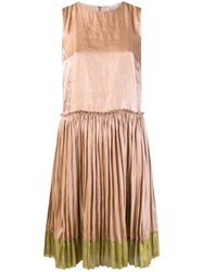 Red Valentino Pleated Shift Dress Nude And Neutrals