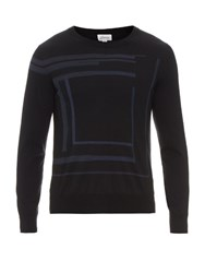 Brioni Intarsia Knit Cashmere And Silk Blend Sweater Navy