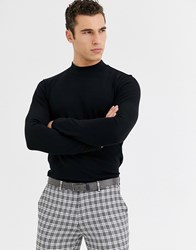 Selected Homme High Neck Long Sleeve T Shirt In Black