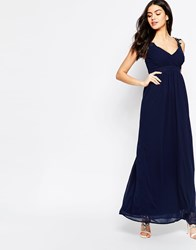 Club L Wrap Front Maxi Dress With Crochet Straps Navy