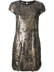 Nude Sequinned Shift Dress Metallic
