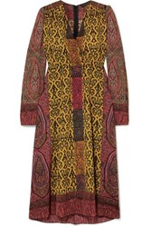 Etro Printed Crepe De Chine Wrap Dress Yellow