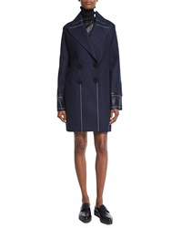 Edun Double Breasted Slim Fit Peacoat Navy