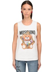 Moschino 3D Print Cotton Jersey Tank Top White