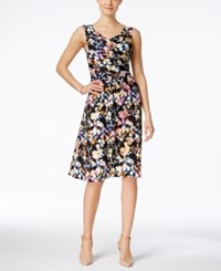 Ny Collection Printed Faux Wrap Crossover Dress Pastel Base Smudgy