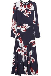 Cedric Charlier Printed Crepe Maxi Dress Midnight Blue
