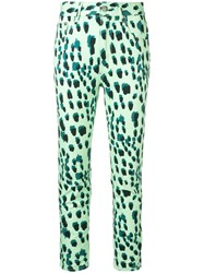 Just Cavalli Leopard Print High Waisted Skinny Jeans Green