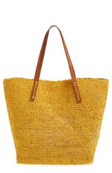 Mar Y Sol 'Portland' Packable Raffia Tote Yellow Sunflower