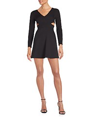 Halston Cutout Ponte Fit And Flare Dress Black
