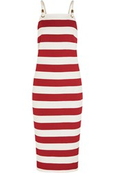 Max Mara Striped Stretch Jersey Dress Red