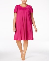 Miss Elaine Plus Size Tricot Flutter Sleeve Short Gown Plum